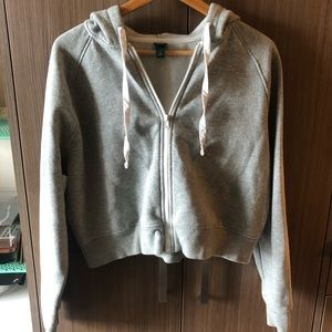Gray Crop Zip Up Sweatshirt